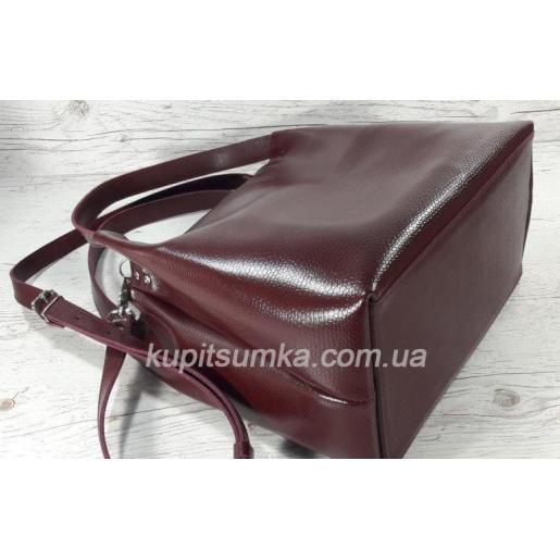 Женская сумка Bottega из натуральной тисненой кожи Вишневый