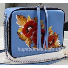 Сумка через плечо из натуральной матовой кожи с росписью голубая