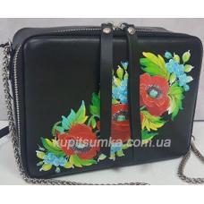 Черная сумка через плечо из натуральной матовой кожи с росписью