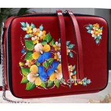 Кожана женская сумка через плечо с роспись KVD1-4 Красный