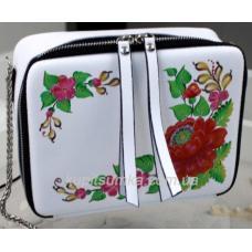Женская сумка из натуральной кожи с росписью KVD1-3 Белый