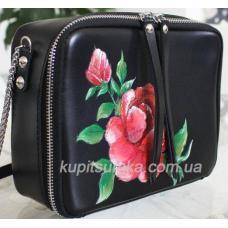 Сумка через плечо из натуральной чёрной кожи с росписью роз