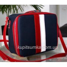 Женская сумка из натуральной кожи с контрастной отделкой