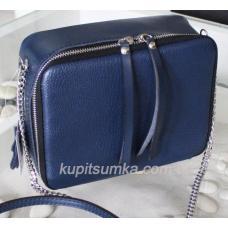 Женская сумка через плечо из натуральной синей кожи