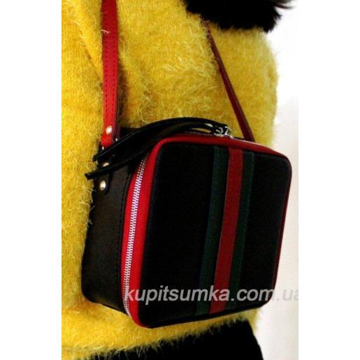 Сумка через плечо из натуральной чёрной кожи в стиле Gucci