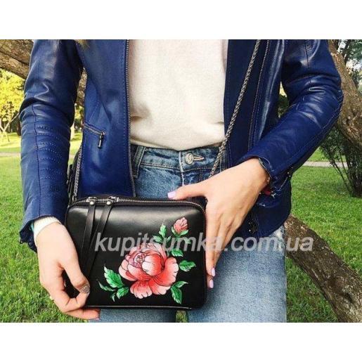 Сумка через плечо из натуральной черной кожи с цветочной росписью