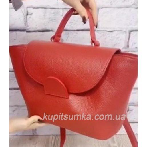 Очаровательная сумка из натуральной телячьей кожи красного цвета