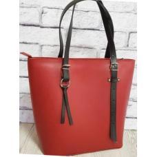 Деловая женская сумка из натуральной кожи красного цвета на длинных ручках