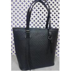 Универсальная классическая сумка черного цвета из натуральной плетенной кожи