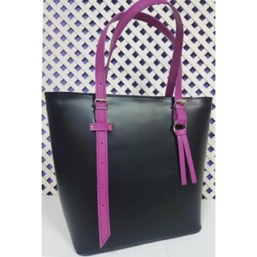 Кожаная черная сумка с длинными ручками