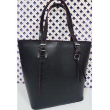 Кожаная черная сумка для деловых женщин