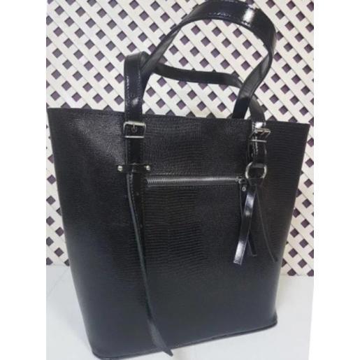 Кожаная черная сумка на длинных ручках