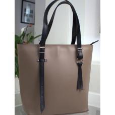 Женская кожаная сумка черная бежевая 17A-18E