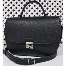 Женская черная кожаная сумка на плечо LU77-243