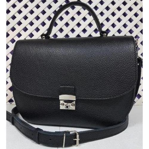 Современная сумка на плечо из натуральной черной кожи флотар