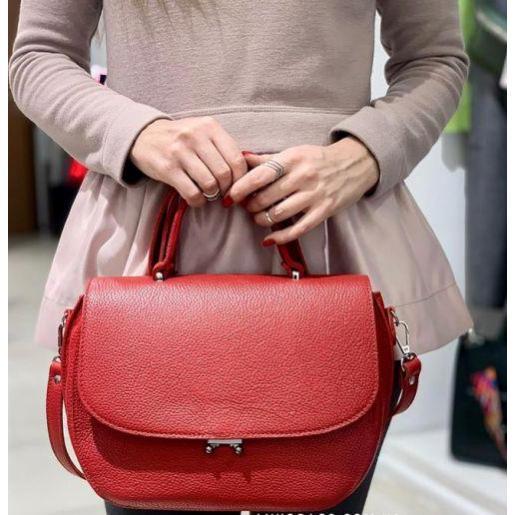 Женская кожаная сумка красная LU77-67