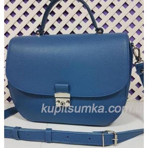 Уникальная сумочка для женщин из натуральной синей кожи