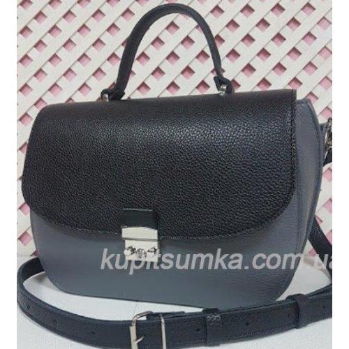 Уникальная серая сумочка для женщин из натуральной кожи