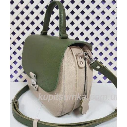 Уникальная сумочка для женщин из бежевой натуральной кожи