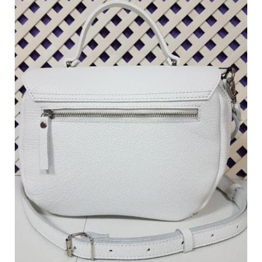Белая кожаная сумка из натуральной кожи