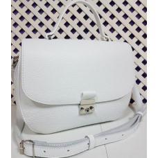 Белая кожаная сумка из натуральной кожи украинского производителя