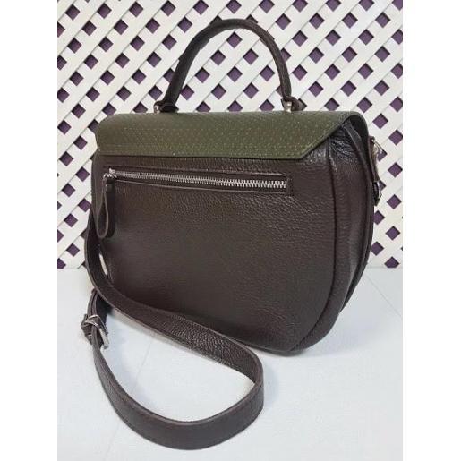 Кожаная сумка-мессенджер из натуральной кожи Зеленый
