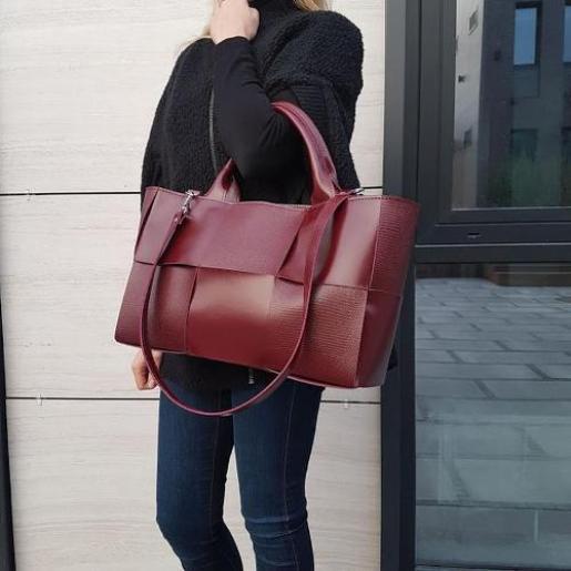 Кожаная женская сумка Marcela E15A Бордовый