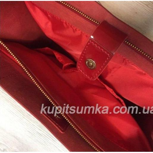 Женская сумка из натуральной глянцевой кожи 11А Красный