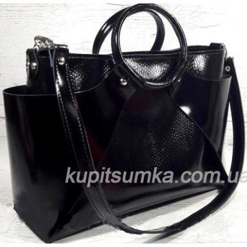 Стильная женская сумка из натуральной глянцевой кожи Чёрная