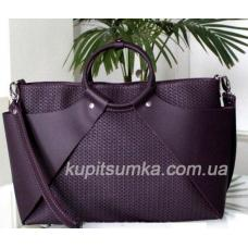 Стильная женская сумка из натуральной кожи Баклажан