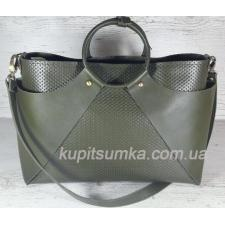 Стильная женская сумка из натуральной кожи Зелёная