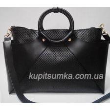 Стильная женская сумка из натуральной кожи Чёрная
