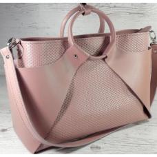 Модная кожаная сумка розового цвета оригинального дизайна
