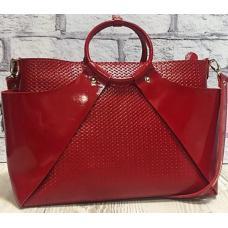 Женская кожаная сумка красного цвета от украинского производителя