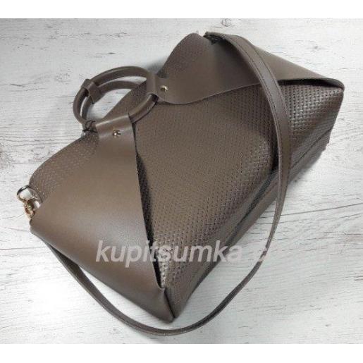 Оригинальная женская сумка из натуральной кожи кофейного цвета