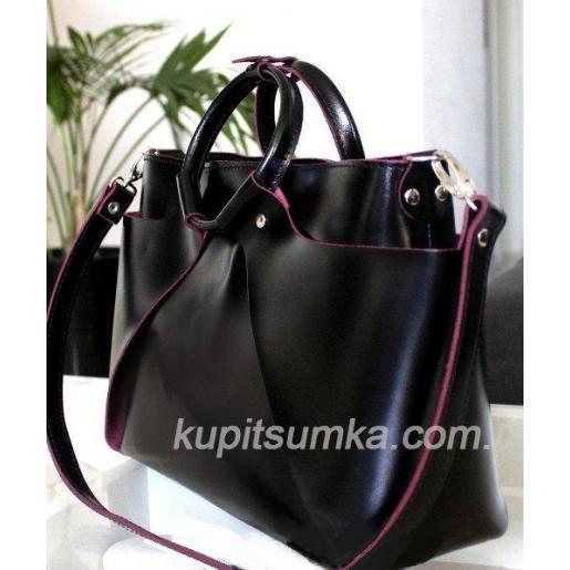 Стильная сумка из натуральной кожи с изнанкой марсала Чёрная