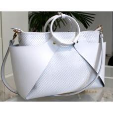 Кожаная женская сумка белая PON15A- 51
