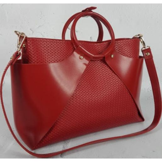 Женская кожаная сумка RON15A-56 Красный