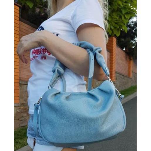 Кожаная женская сумка Paola EK-98-5-8 Голубой
