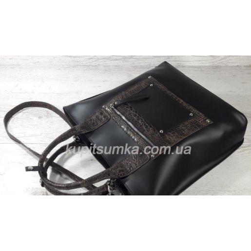 Кожаная женская сумка Carla CAR8A-8 Черный