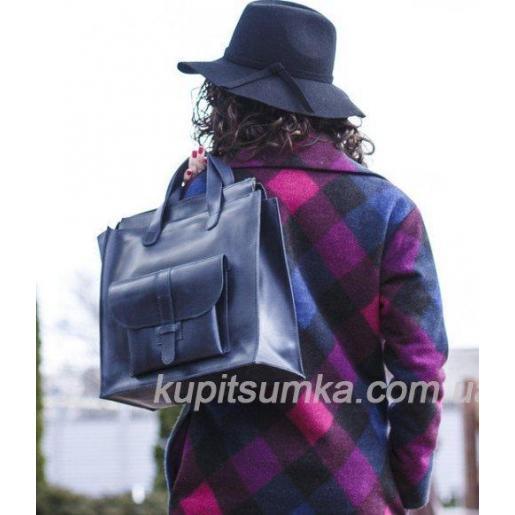 Фантастическая сумка шоппер из натуральной кожи в сиреневых цветах