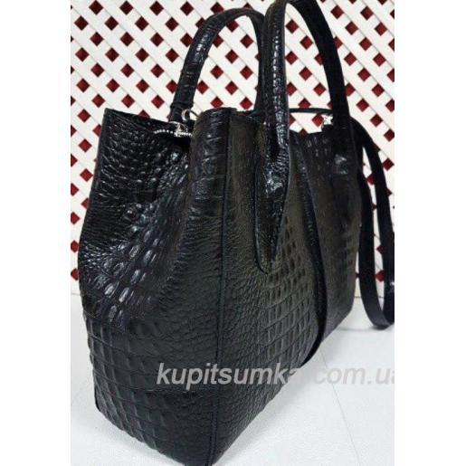Кожаная женская сумка с тиснением под крокодилову кожу