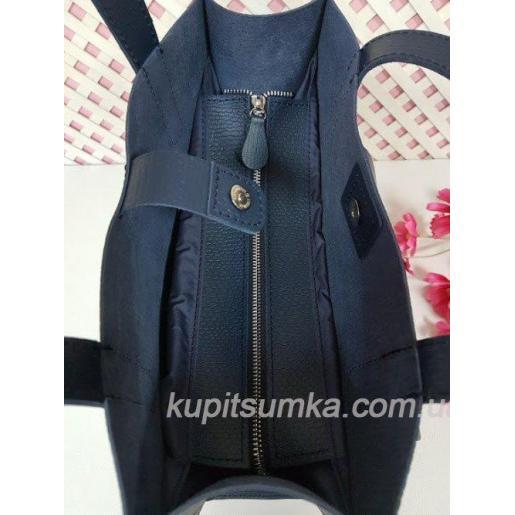 Синяя сумка из натуральной тиснённой кожи с передним карманом