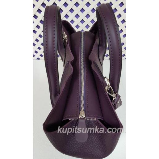 Женская сумка цвета сливового цвета из натуральной рифленой кожи