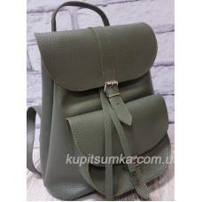 Женский рюкзак из натуральной кожи в стиле Casual цвета хаки