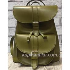 Женский рюкзак из натуральной матовой кожи в стиле Casual цвет оливковый
