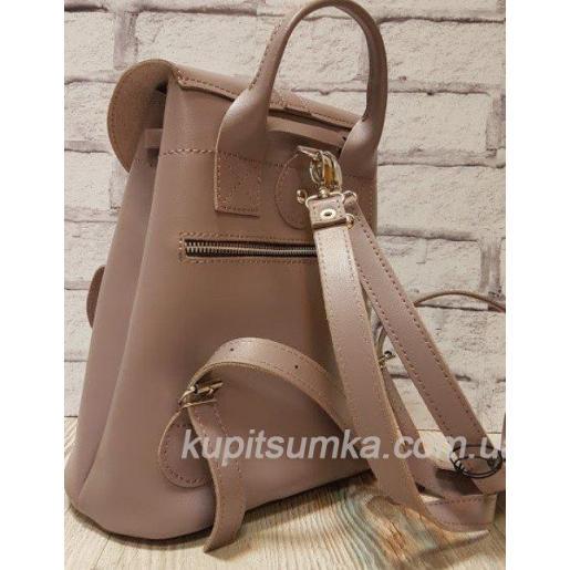 Женский рюкзак из натуральной кожи в стиле Casual серо - сиреневого цвета