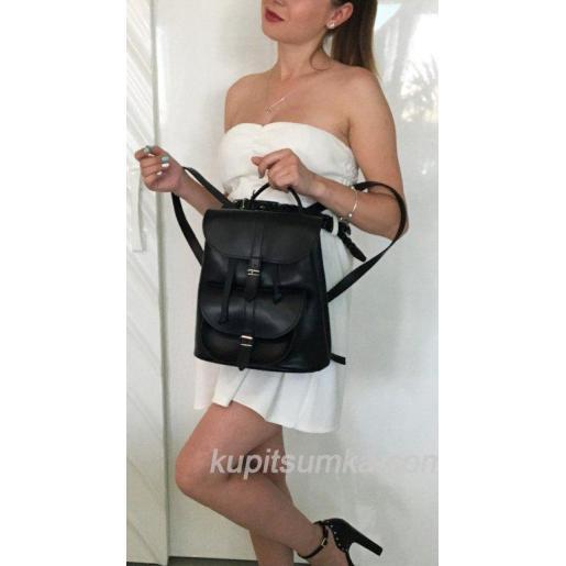 Женский рюкзак из натуральной матовой кожи в стиле Casual чёрного цвета
