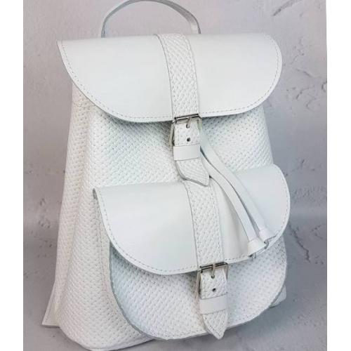 Кожаный женский рюкзак Bavarly 21A-25 белый