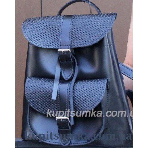 Женский рюкзак из натуральной тиснёной кожи в стиле Casual синего цвета